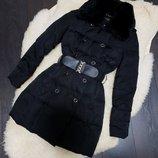 Черный пуховик love republic с меховым воротником,зимняя куртка, размер xs-s