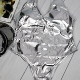 смл сдельный слитный серебряный купальник металлизированный эффект