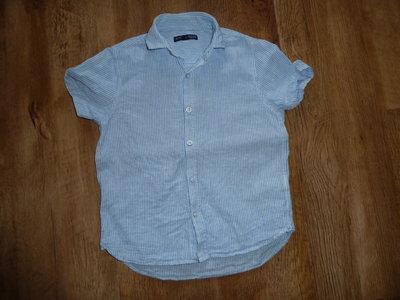 next Льняная рубашка Некст на 7 лет рост 122 см, Рубашка из смеси льна с коротким рукавом