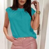 Женская летняя блуза ткань софт с мелкой сборочкой в зоне декольте Motylek арт.403 скл.10
