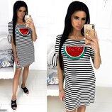 Женское повседневное летнее платье из мягкой ткани вискоза принт Арбуз скл.1 арт. 55501