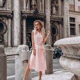 Пудровое платье- рубашка