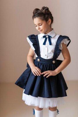 Школьный сарафан юбка трансформер, школьная форма для девочек 116 122 128 134 140 146 152 158 синий