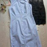 натуральное голубое платье миди рубашка халат на пуговицах с воротником длинное сарафан