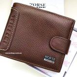 Кожаное портмоне нorse imperial. Мужской бумажник из натуральной кожи. мужской кошелек в коробке