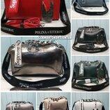 Женская кожаная сумка Polina & Eiterou Supreme жіноча шкіряна черная бронзовая зелёная красная белая