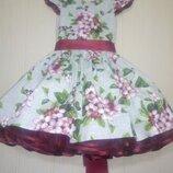 Яркое пышное детское нарядное платье