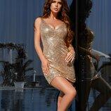 Золотое платье в мелкую пайетку