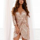 Пудренно- золотое платье в пайетки