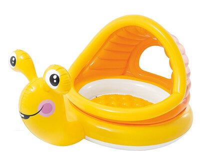 Детский надувной бассейн Intex 57124 «Улитка» с навесом 145 102 74 см