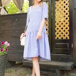 Хлопковое платье-рубашка 44-54 размеры L-246 голубой
