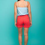 Женские коттоновые летние шорты Мини принт горох полоска яркий цвет скл.15