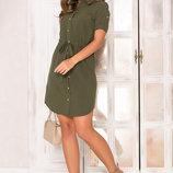 Платье-Рубашка с поясом-кулиской AZ-140 хаки