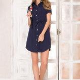 Оригинальное платье-рубашка AZ-140 т.синий