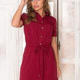 Великолепное платье-рубашка AZ-140 вишня