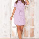 Платье-Рубашка с накладными карманами AZ-140 сиреневый