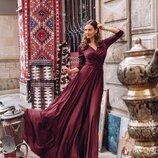 Обалденное платье из Шелка Армани марсалового цвета