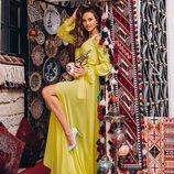 Жёлтое платье из Шелка Армани