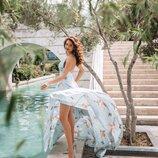Шикарные голубые платья из Шелка Армани в принт Аисты