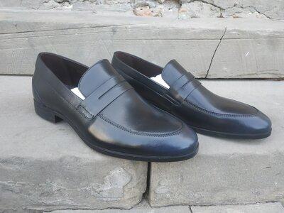 Туфли лоферы Икос, пени, синие мокасины, модная обувь, натуральная кожа