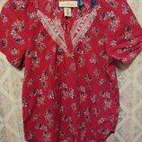 Натуральная легкая летняя блуза цветочный принт H&M