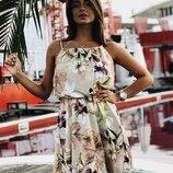 Женский цветочный сарафан платье с брителями канатками ткань супер-софт скл.1 арт.55905