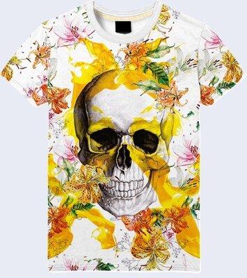 Мужская футболка 3D Skull and lilies Большой выбор