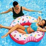 Intex 56265, надувной круг Надкушенный Пончик, 107 см диаметр