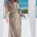 Пляжная туника шифон принт рептилия питон леопард