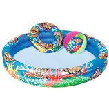 Бассейн 51124 Детский,подвод.мир,122-20См,2Кольца,круг,мяч,ремком