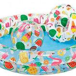 фламинго Бассейн 59460 Круг, Детский, 2 Кольца, Цветной С Набором, 122-25СМ Intex
