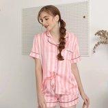 Костюм домашний пижама шелковая комплект шелковый рубашка шорты розовая полоска