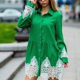 Платье рубашка с ажурным кружевом