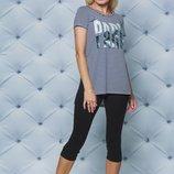 Комплект летний футболка с бриджами полоска 42-58