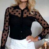 Очаровательная черная блузка рубашка в горошек