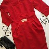 Платье красное с карманами