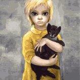 Картина по номерам. Brushme Дочь с котиком. Маргарет Кин GX29281