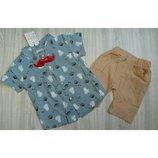 Костюм для мальчика рубашка и шорты р.80-98