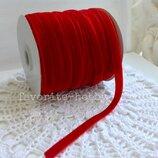 Бархатная лента 0,9 см,цвет красный,1 м