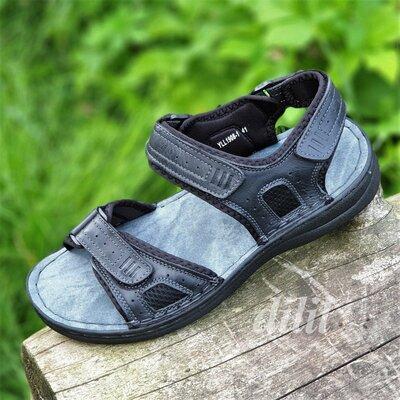 Босоножки сандалии мужские кожаные спортивные черные на липучках