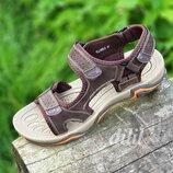 Босоножки сандалии мужские кожаные спортивные коричневые на липучках