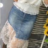 Юбка шикарная джинсовая кружево