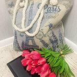 Женская пляжная сумка Souvenir ткань плотный текстиль с ручками канатками арт.3070 скл.10