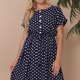 Платье по 58 размер Селена lnd-370 горох короткая юбка