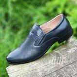 Туфли мужские кожаные летние темно синие