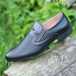 Туфли мужские кожаные летние черные