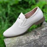 Туфли мужские кожаные летние бежевые