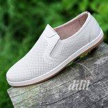 Туфли мокасины мужские кожаные летние бежевые