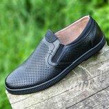 Туфли мокасины мужские кожаные летние черные