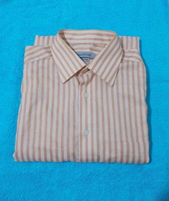 Рубашка деловая оранжево-бежевая в полоску Salvatore 50-52р
